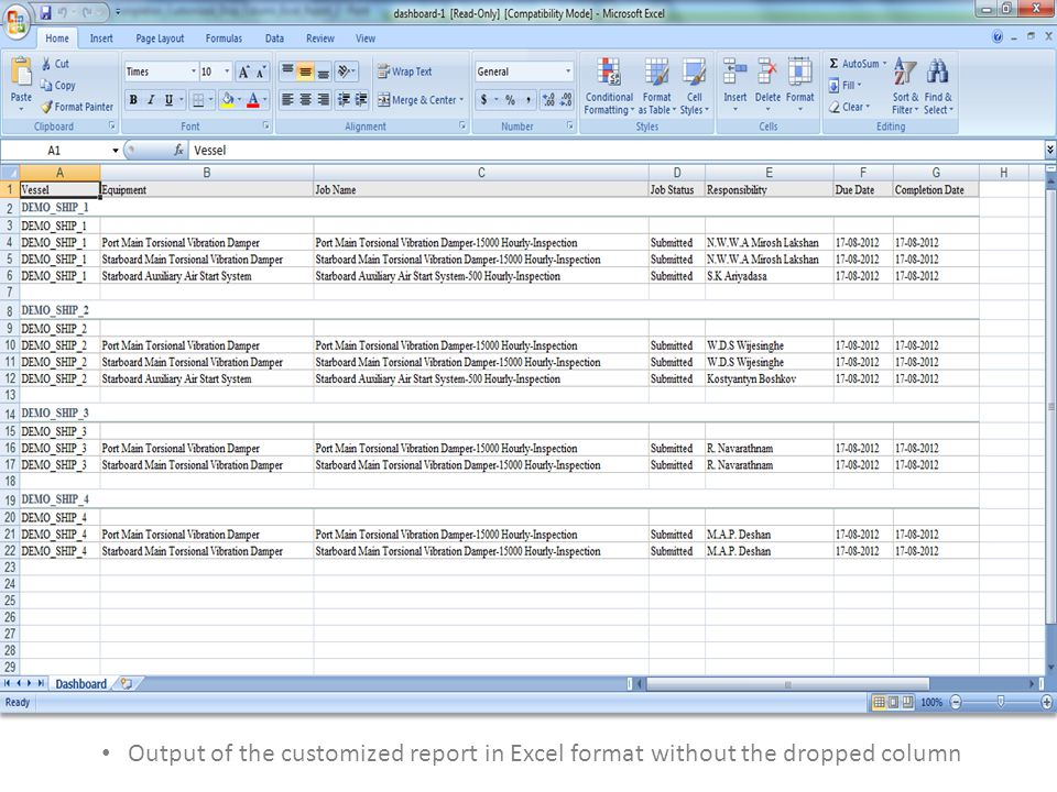 Output of the customized report in Excel format without the dropped column