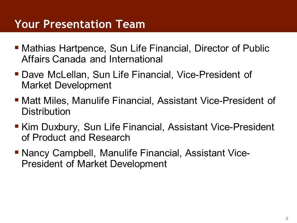 Your Presentation Team Mathias Hartpence, Sun Life Financial, Director of Public Affairs Canada and International Dave McLellan, Sun Life Financial, V