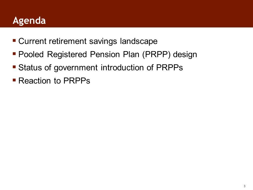 Agenda Current retirement savings landscape Pooled Registered Pension Plan (PRPP) design Status of government introduction of PRPPs Reaction to PRPPs