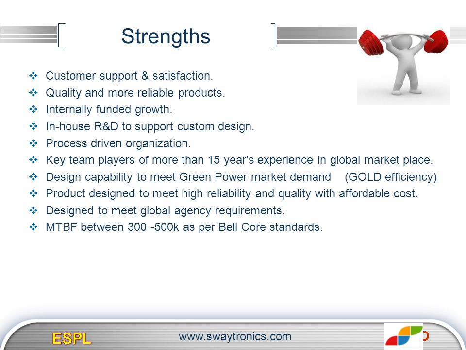 LOGO Strengths Customer support & satisfaction. Quality and more reliable products. Internally funded growth. In-house R&D to support custom design. P