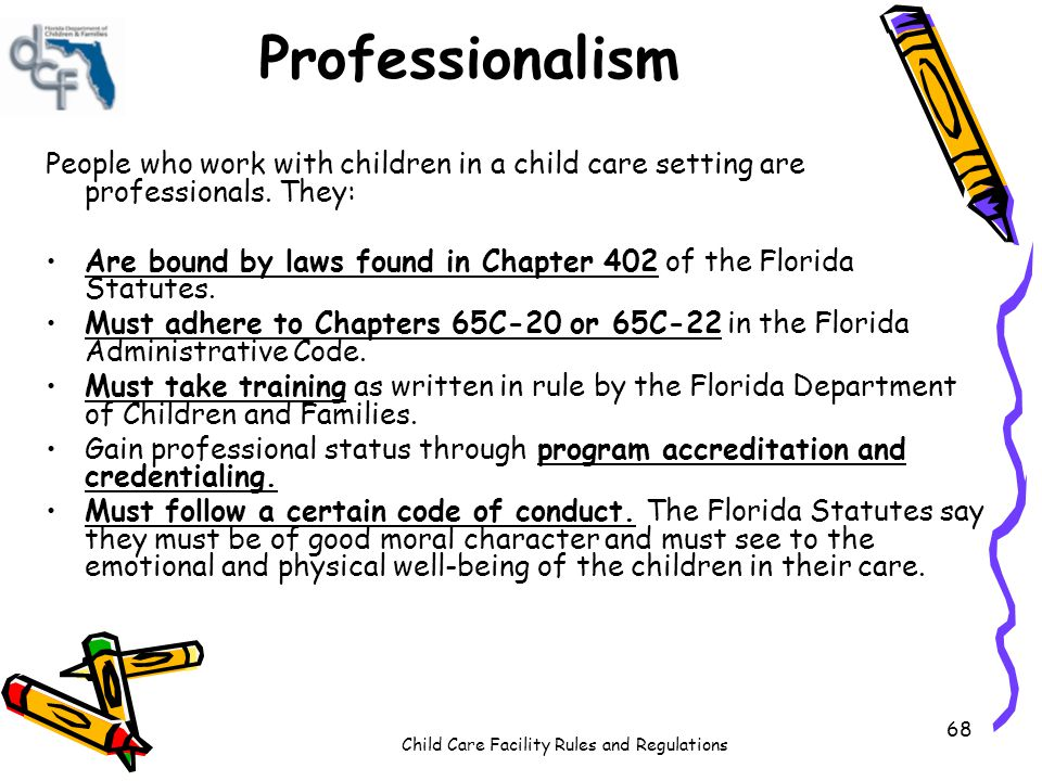 Child Care Facility Rules and Regulations 68 Professionalism People who work with children in a child care setting are professionals. They: Are bound