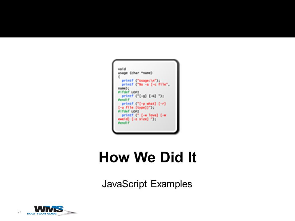 27 How We Did It JavaScript Examples