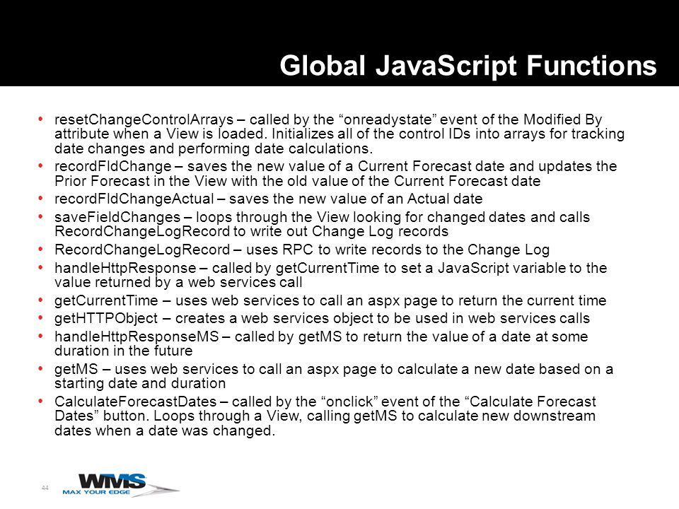 44 Global JavaScript Functions resetChangeControlArrays – called by the onreadystate event of the Modified By attribute when a View is loaded.