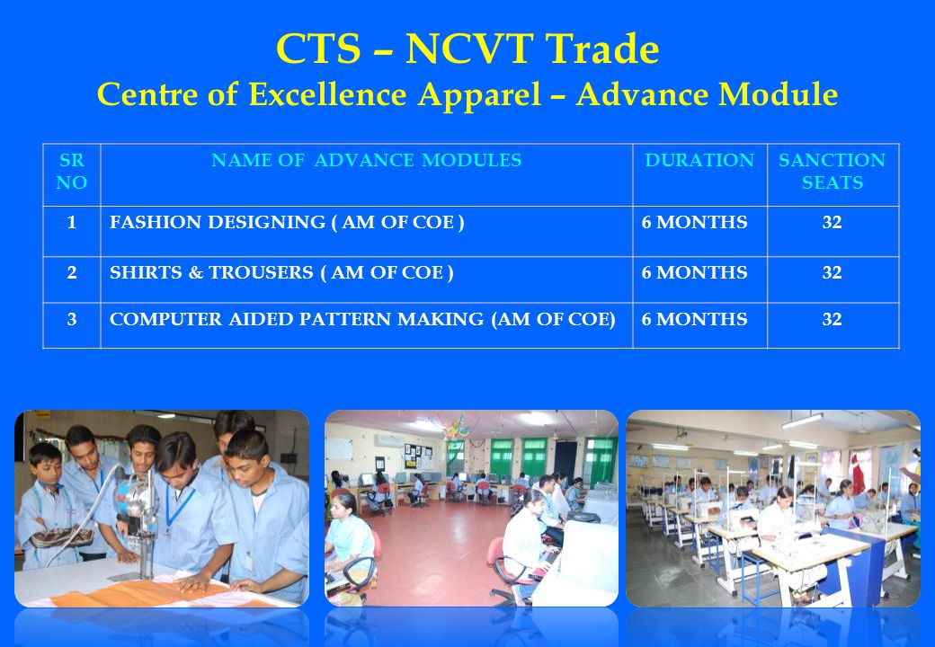 CTS – NCVT Trade Centre of Excellence Apparel – Advance Module SR NO NAME OF ADVANCE MODULESDURATIONSANCTION SEATS 1FASHION DESIGNING ( AM OF COE )6 M