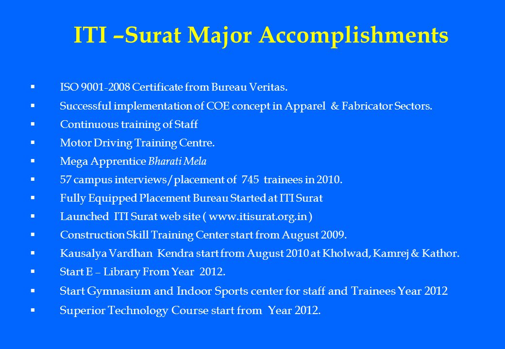 ITI –Surat Major Accomplishments ISO 9001-2008 Certificate from Bureau Veritas. Successful implementation of COE concept in Apparel & Fabricator Secto