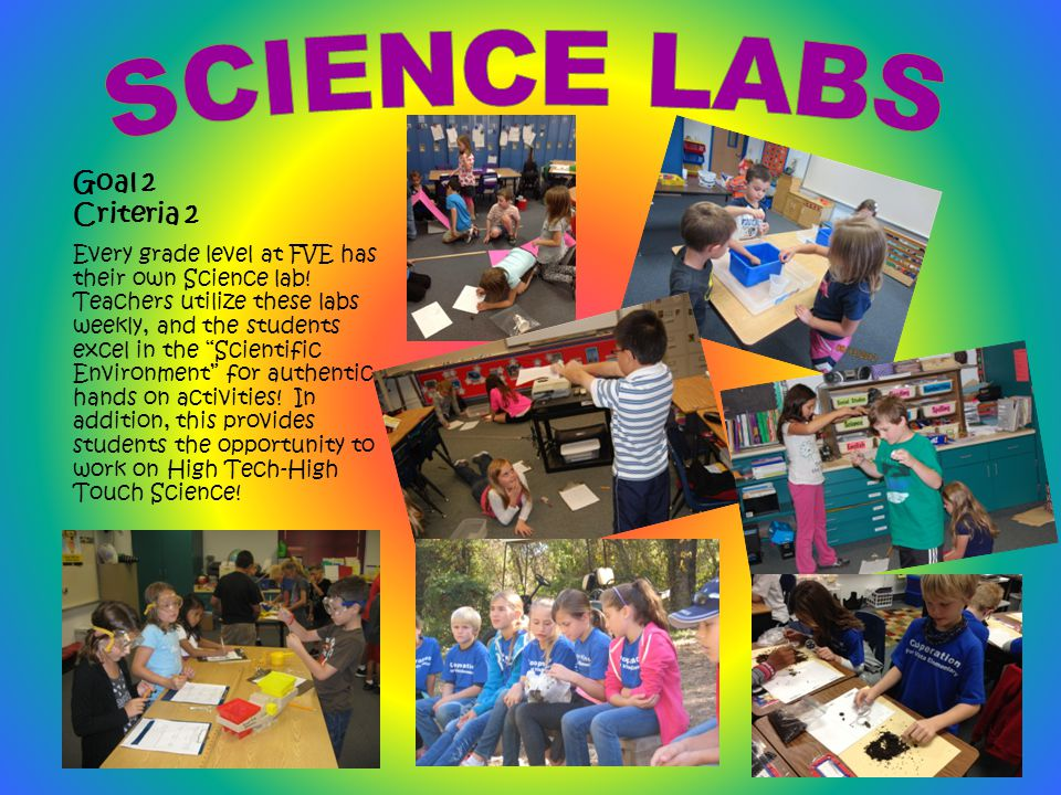 Goal 2 Criteria 2 Every grade level at FVE has their own Science lab.