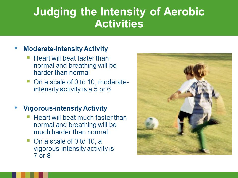 Types of Moderate- and Vigorous- Intensity Aerobic Activities Type of Physical Activity Age Group ChildrenAdolescents Moderate- intensity aerobic Active recreation, such as hiking, skateboarding, rollerblading Bicycle riding Brisk walking Active recreation, such as canoeing, hiking, skateboarding, rollerblading Brisk walking Bicycle riding (stationary or road bike) Housework and yard work, such as sweeping or pushing a lawn mower Games that require catching and throwing, such as baseball and softball Vigorous- intensity aerobic Active games involving running and chasing, such as tag Bicycle riding Jumping rope Martial arts, such as karate Running Sports such as soccer, ice or field hockey, basketball, swimming, tennis Cross-country skiing Active games involving running and chasing, such as flag football Bicycle riding Jumping rope Martial arts, such as karate Running Sports such as soccer, ice or field hockey, basketball, swimming, tennis Vigorous dancing, cross-country skiing