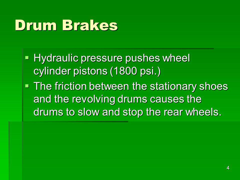 4 Drum Brakes Hydraulic pressure pushes wheel cylinder pistons (1800 psi.) Hydraulic pressure pushes wheel cylinder pistons (1800 psi.) The friction b