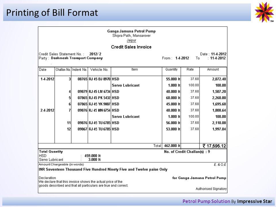 Printing of Bill Format Petrol Pump Solution By Impressive Star