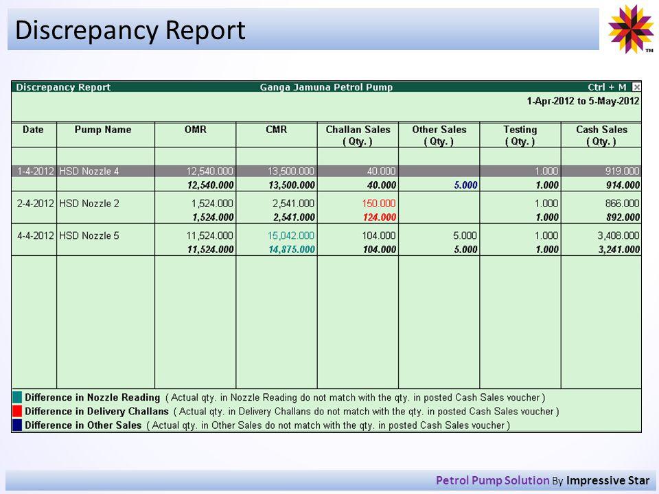 Discrepancy Report Petrol Pump Solution By Impressive Star