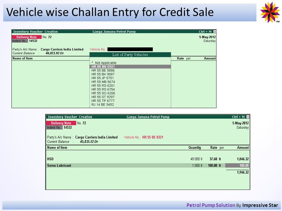 Vehicle wise Challan Entry for Credit Sale Petrol Pump Solution By Impressive Star