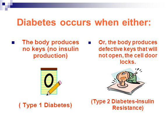 Diabetes occurs when either: The body produces no keys (no insulin production) ( Type 1 Diabetes) Or, the body produces defective keys that will not o