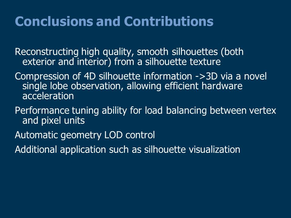 Conclusions and Contributions Reconstructing high quality, smooth silhouettes (both exterior and interior) from a silhouette texture Compression of 4D