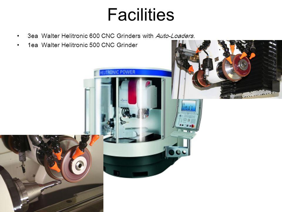Facilities 3ea Walter Helitronic 600 CNC Grinders with Auto-Loaders. 1ea Walter Helitronic 500 CNC Grinder