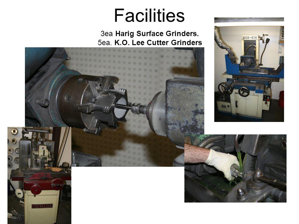 3ea Harig Surface Grinders. 5ea. K.O. Lee Cutter Grinders Facilities