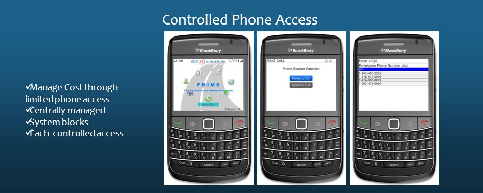 Controlled Phone Access Manage Cost through limited phone access Centrally managed System blocks Each controlled access
