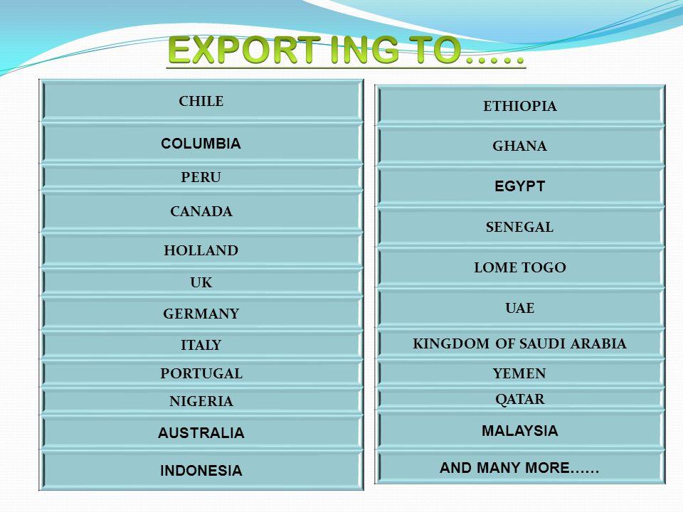 CHILE COLUMBIA PERU CANADA HOLLAND UK GERMANY ITALY PORTUGAL NIGERIA AUSTRALIA INDONESIA ETHIOPIA GHANA EGYPT SENEGAL LOME TOGO UAE KINGDOM OF SAUDI A