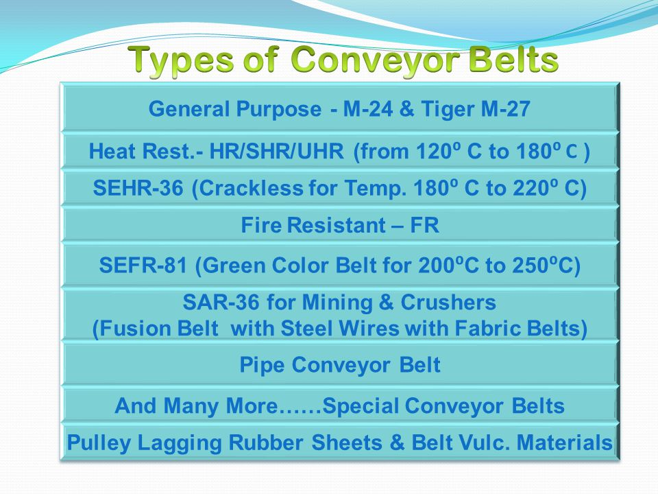 M-24 Conveyor Belt :- The general fabric conveyor belt is made of EP, NN or Cotton fabric and finished through the processes of calendaring, firming and vulcanizing, etc.