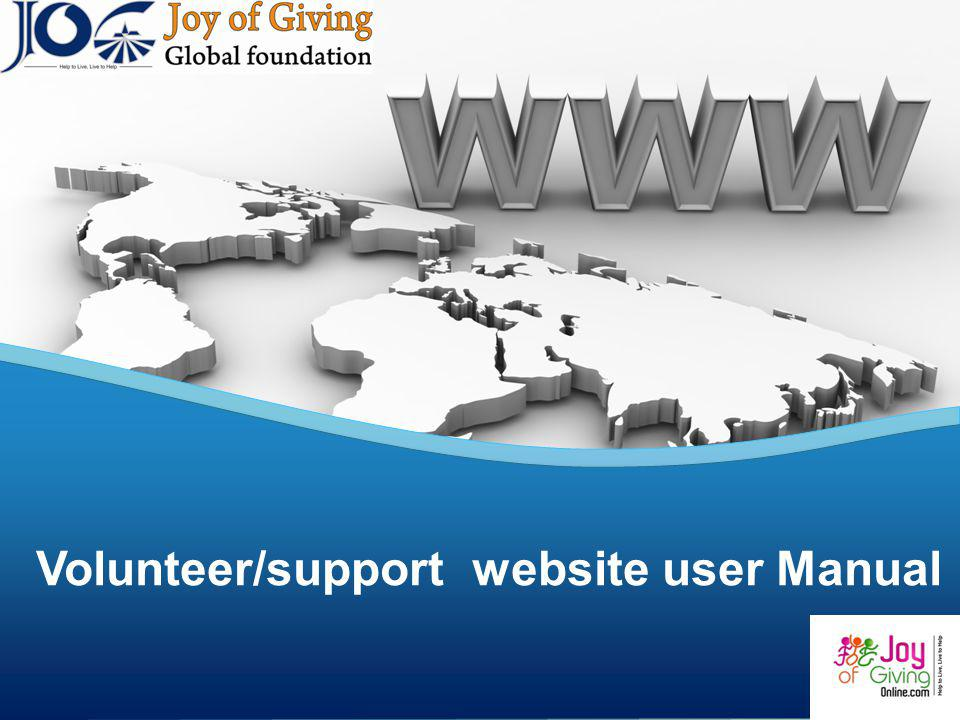 Volunteer/support website user Manual