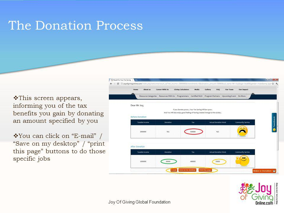 The Donation Process This screen appears, informing you of the tax benefits you gain by donating an amount specified by you You can click on E-mail / Save on my desktop / print this page buttons to do those specific jobs Joy Of Giving Global Foundation