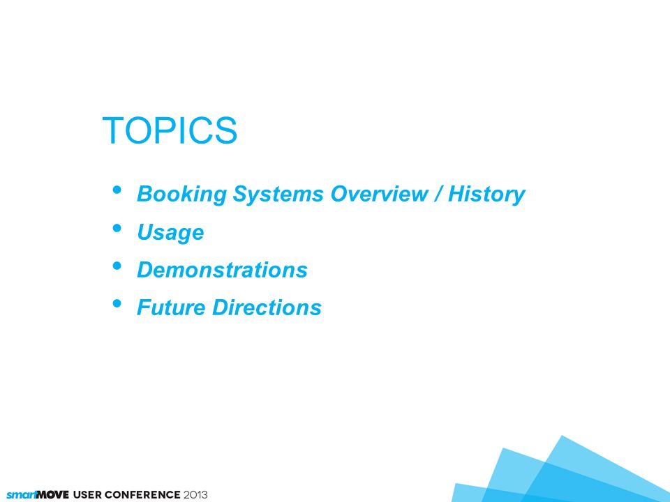TOPICS Booking Systems Overview / History Usage Demonstrations Future Directions