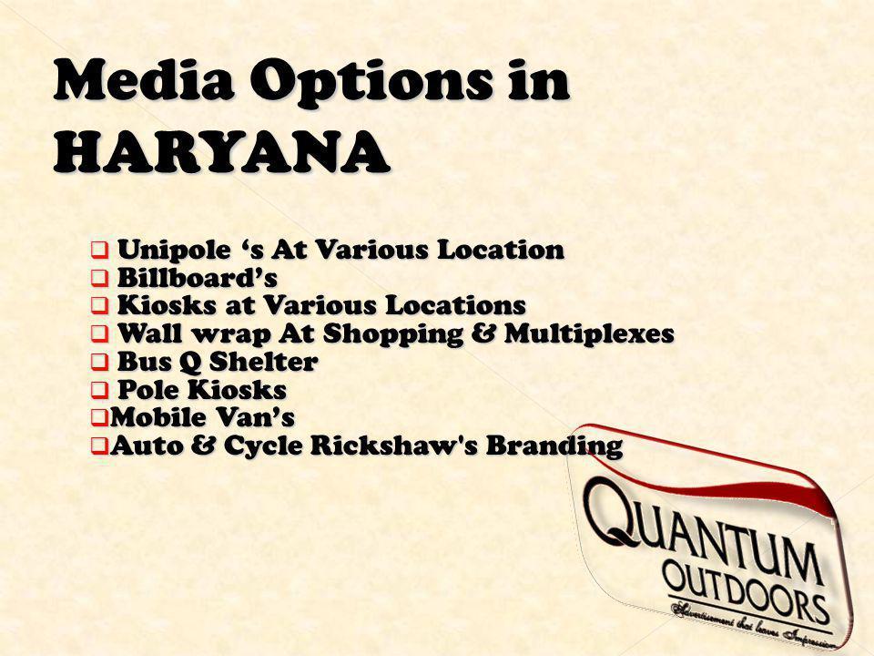 Media Options in HARYANA Unipole s At Various Location Unipole s At Various Location Billboards Billboards Kiosks at Various Locations Kiosks at Vario