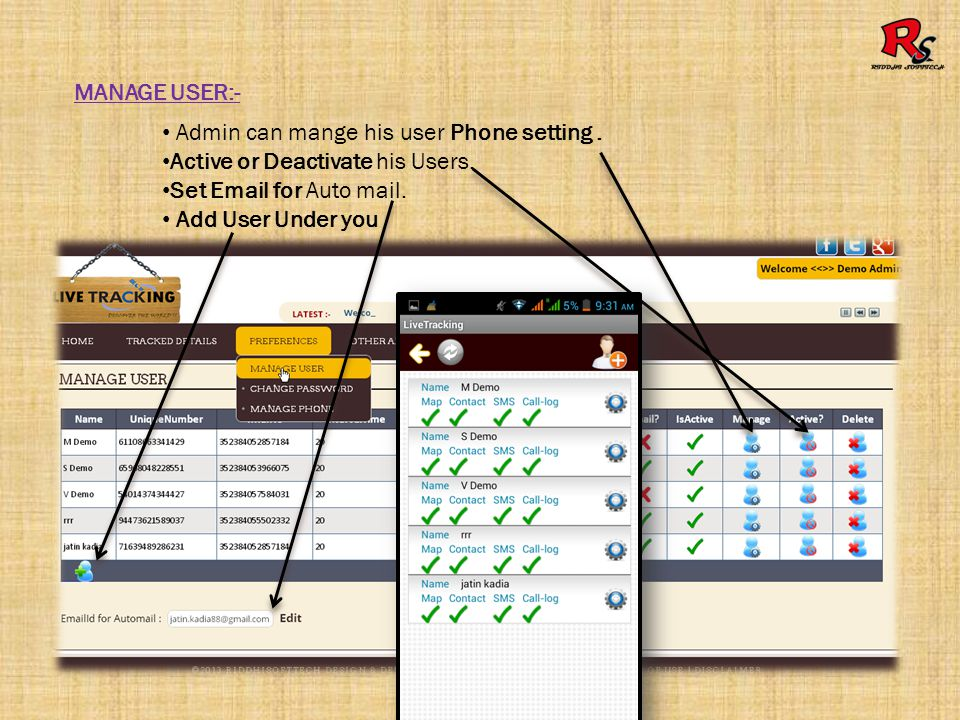 MANAGE USER PHONE SETTING :- Manage user Log upload interval time and set which type of log upload.