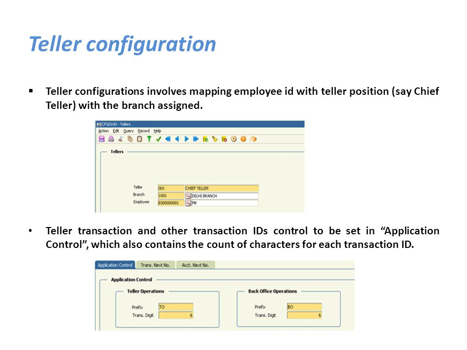 Teller configurations involves mapping employee id with teller position (say Chief Teller) with the branch assigned. Teller transaction and other tran
