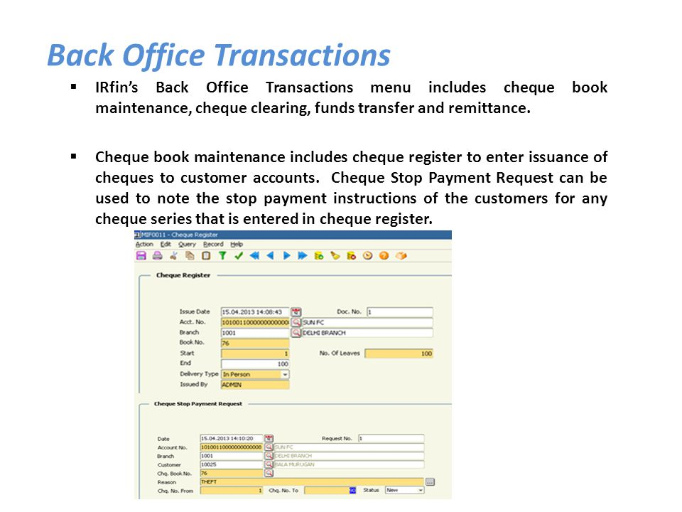 IRfins Back Office Transactions menu includes cheque book maintenance, cheque clearing, funds transfer and remittance. Cheque book maintenance include