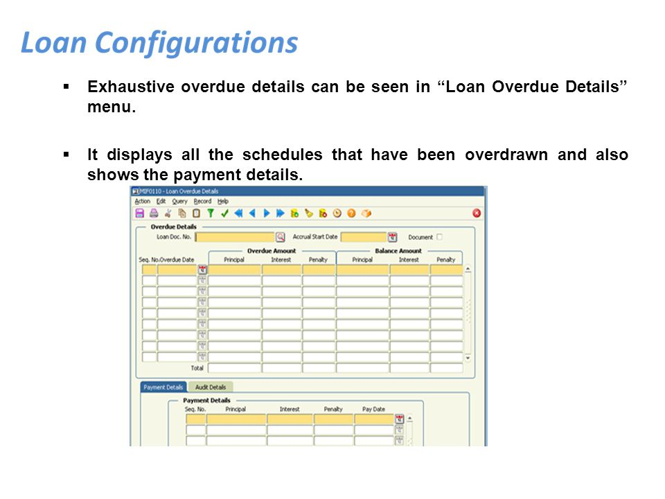 Exhaustive overdue details can be seen in Loan Overdue Details menu. It displays all the schedules that have been overdrawn and also shows the payment