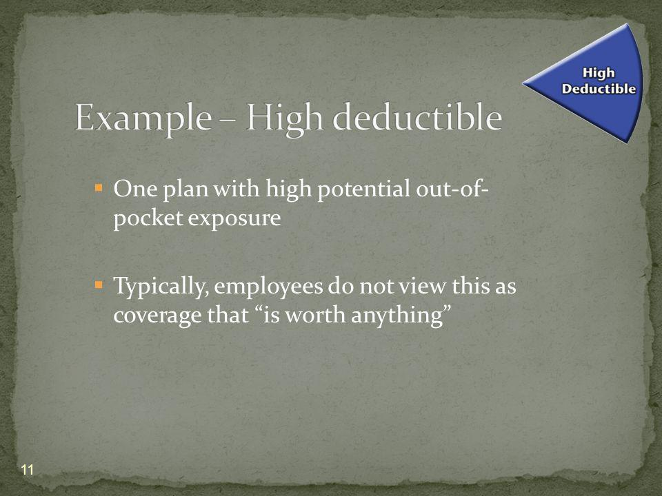 One plan with high potential out-of- pocket exposure Typically, employees do not view this as coverage that is worth anything 11