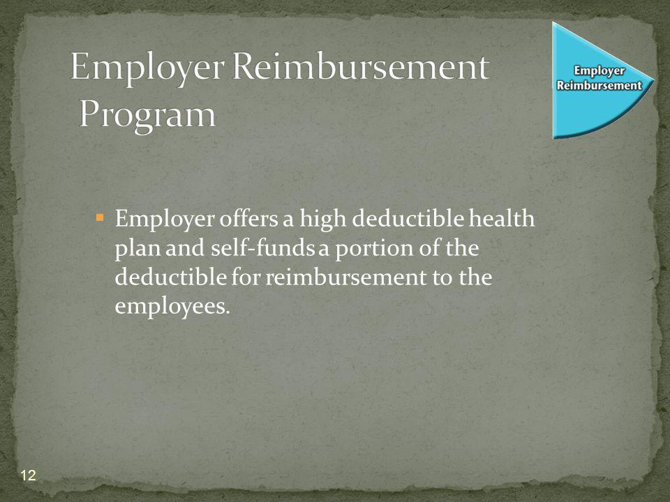 Employer offers a high deductible health plan and self-funds a portion of the deductible for reimbursement to the employees.