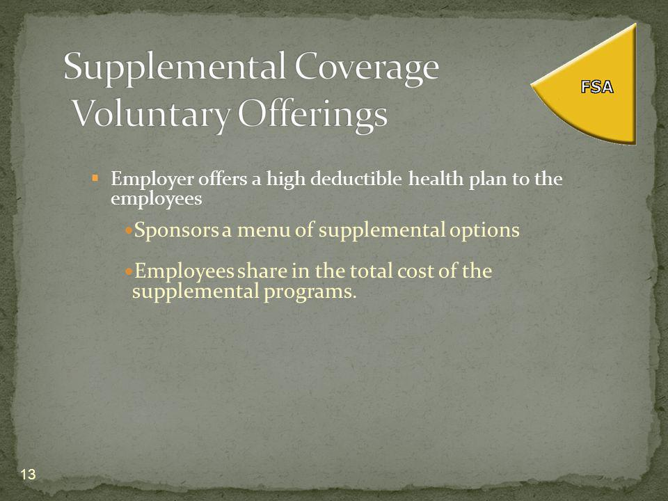 Employer offers a high deductible health plan to the employees Sponsors a menu of supplemental options Employees share in the total cost of the supplemental programs.