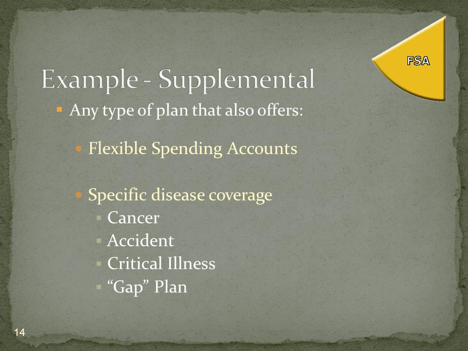 Any type of plan that also offers: Flexible Spending Accounts Specific disease coverage Cancer Accident Critical Illness Gap Plan 14
