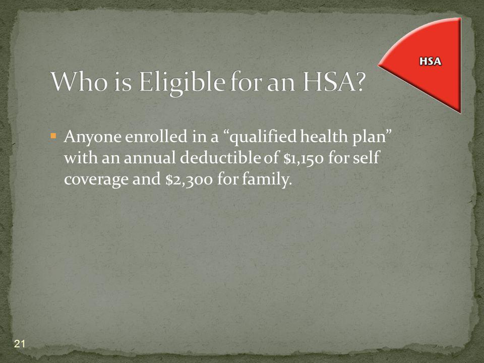 Anyone enrolled in a qualified health plan with an annual deductible of $1,150 for self coverage and $2,300 for family. 21