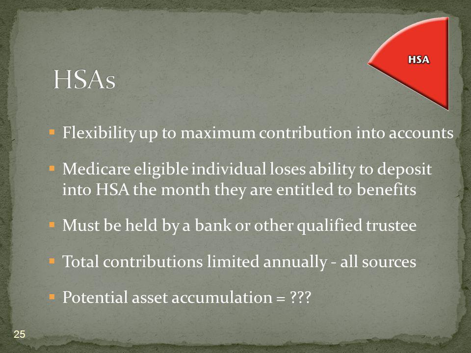Flexibility up to maximum contribution into accounts Medicare eligible individual loses ability to deposit into HSA the month they are entitled to ben