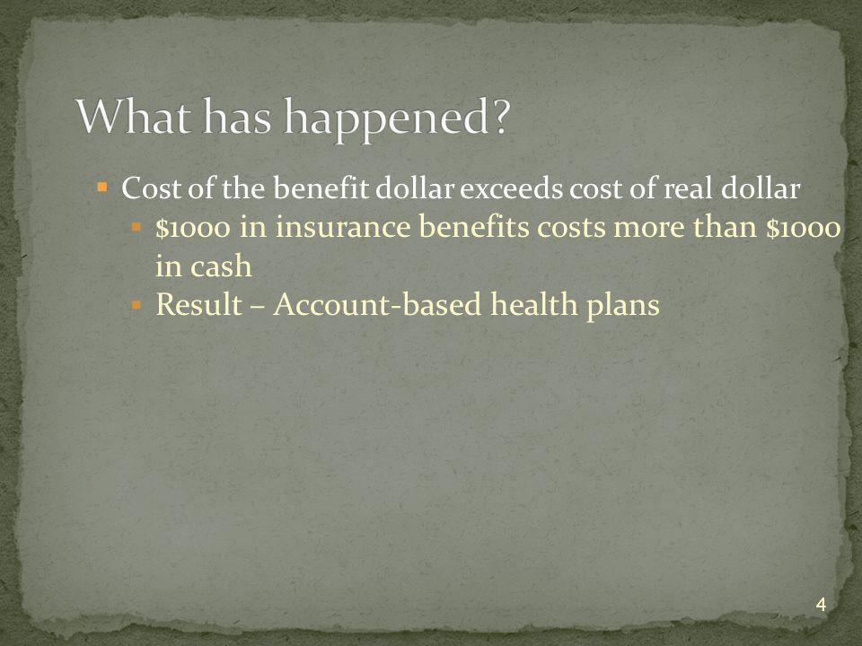 Cost of the benefit dollar exceeds cost of real dollar $1000 in insurance benefits costs more than $1000 in cash Result – Account-based health plans 4