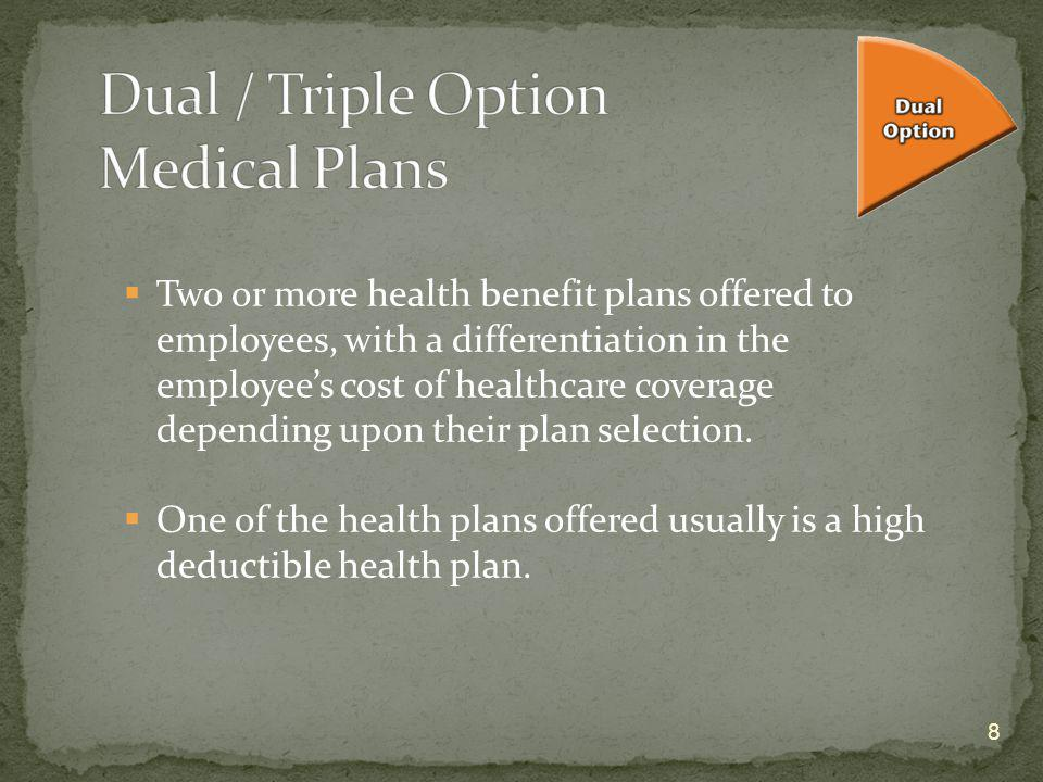 8 Two or more health benefit plans offered to employees, with a differentiation in the employees cost of healthcare coverage depending upon their plan
