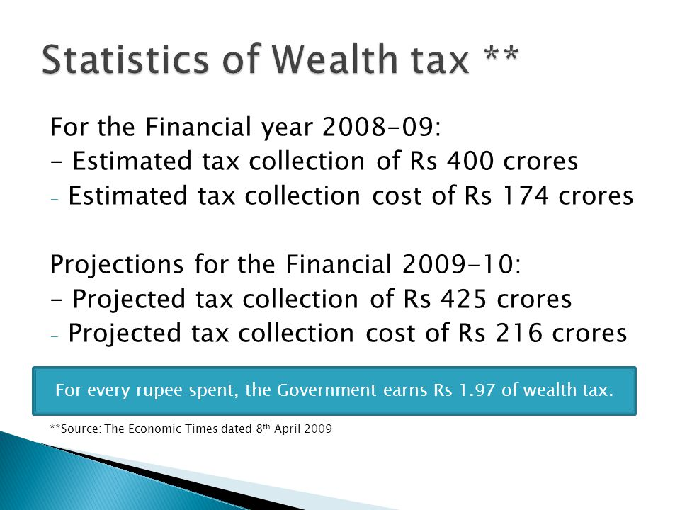 For the Financial year 2008-09: - Estimated tax collection of Rs 400 crores - Estimated tax collection cost of Rs 174 crores Projections for the Finan