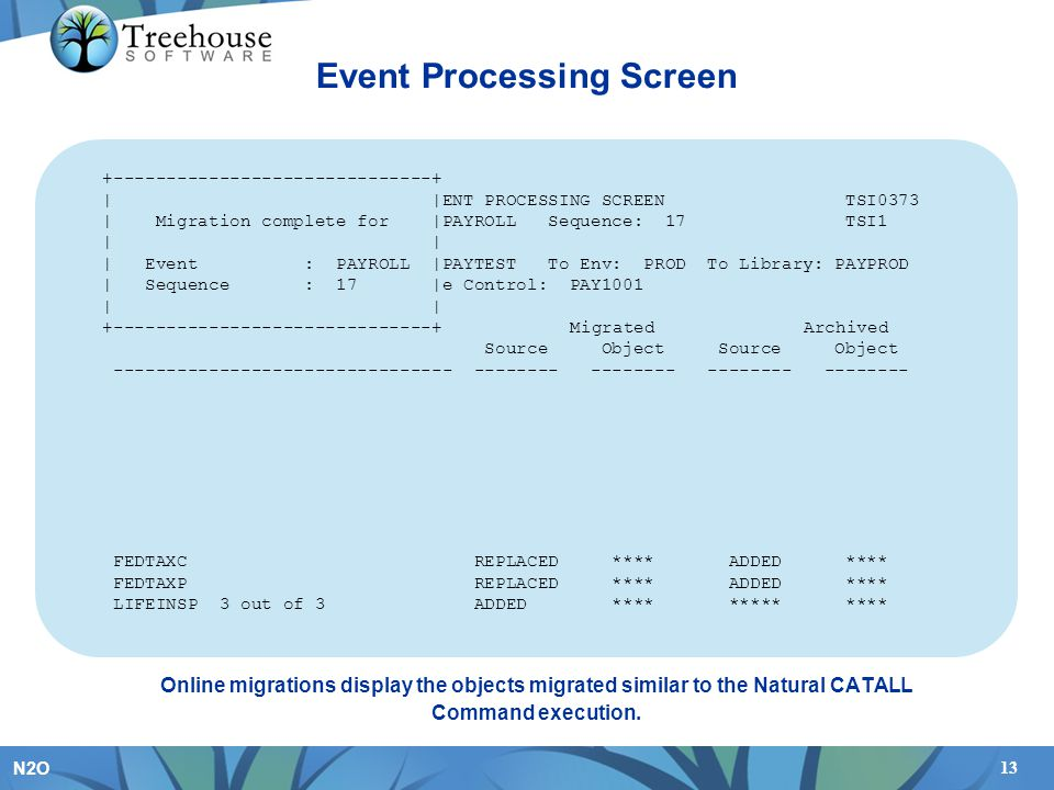 13 N2O Event Processing Screen Online migrations display the objects migrated similar to the Natural CATALL Command execution.