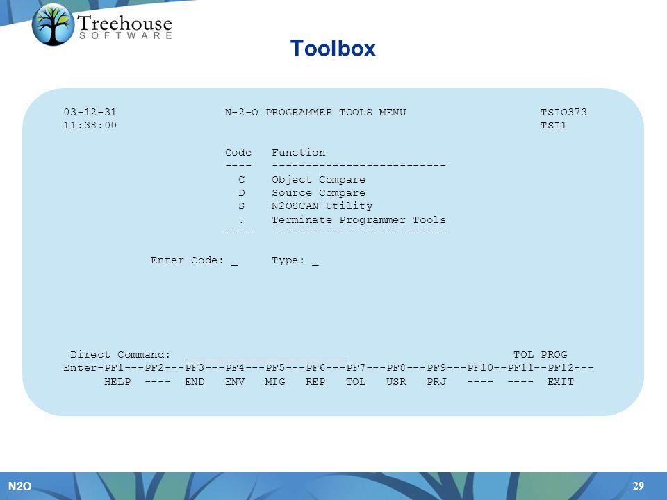 29 N2O Toolbox 03-12-31 N-2-O PROGRAMMER TOOLS MENU TSIO373 11:38:00 TSI1 Code Function ---- -------------------------- C Object Compare D Source Comp