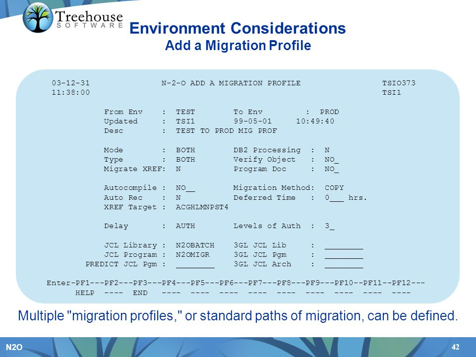 42 N2O Multiple migration profiles, or standard paths of migration, can be defined.