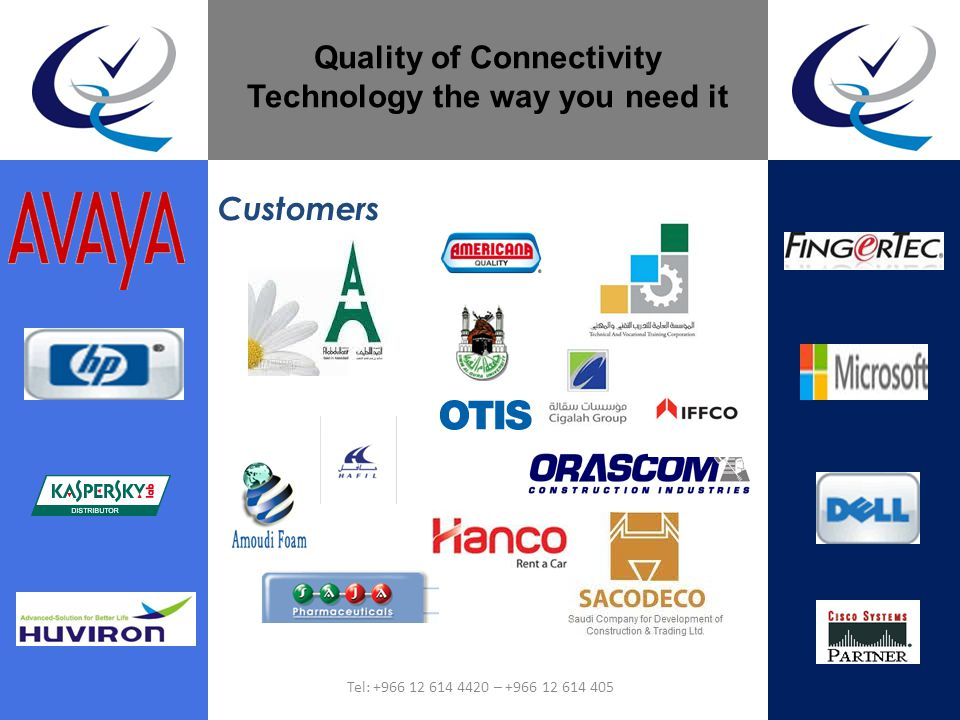 Customers Quality of Connectivity Technology the way you need it Tel: +966 12 614 4420 – +966 12 614 405