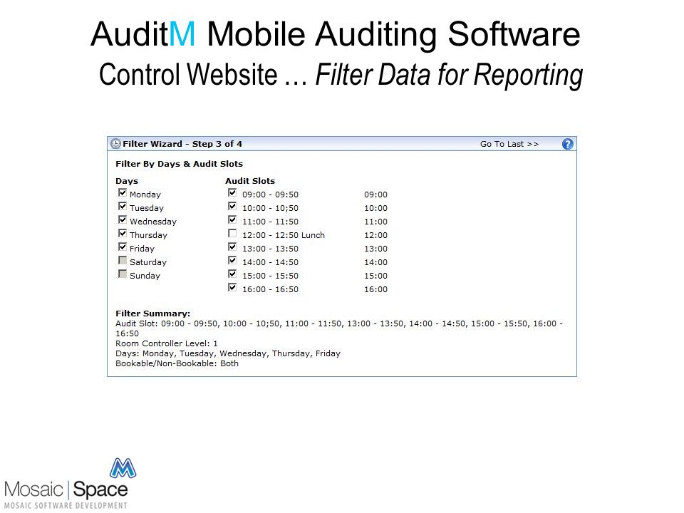AuditM Mobile Auditing Software Control Website … Filter Data for Reporting