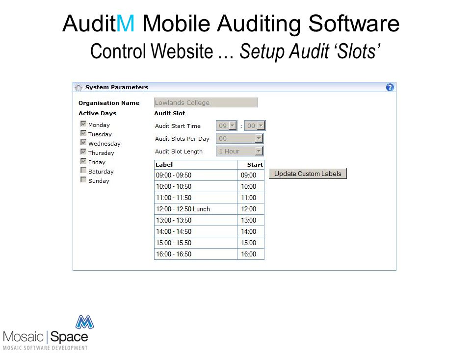 AuditM Mobile Auditing Software Control Website … Manage Audit Routes