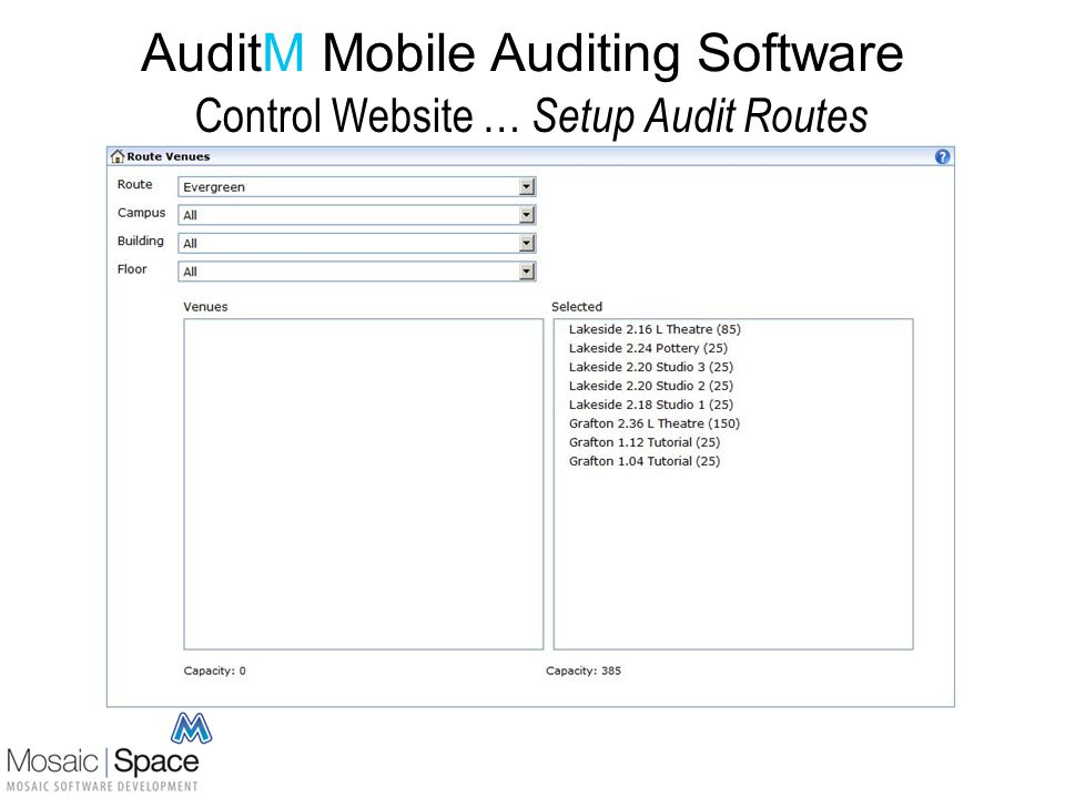 AuditM Mobile Auditing Software Mobile Data Entry Simple AuditM app on auditors mobile Secure connection to AuditM website Logon initiates download of the auditors Route Details to the mobile All screens have Help messages On-phone Help Text: Login Screen This screen manages connections between your device and the AuditM server, and displays information about you, your assigned routes and venues.