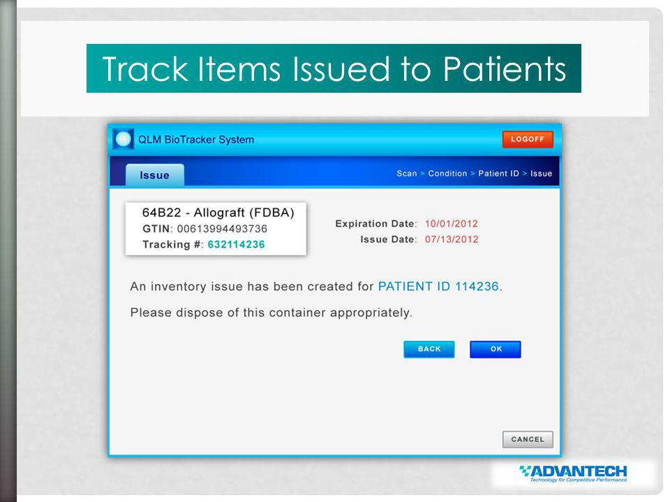 Track Items Issued to Patients