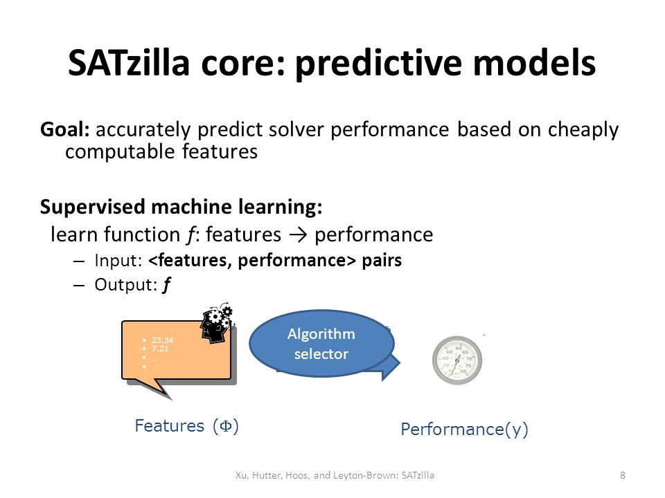 SATzilla core: predictive models Goal: accurately predict solver performance based on cheaply computable features Supervised machine learning: learn f