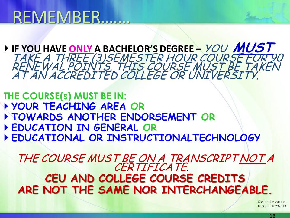 IF YOU HAVE ONLY A BACHELORS DEGREE – YOU MUST TAKE A THREE (3)SEMESTER HOUR COURSE FOR 90 RENEWAL POINTS. THIS COURSE MUST BE TAKEN AT AN ACCREDITED