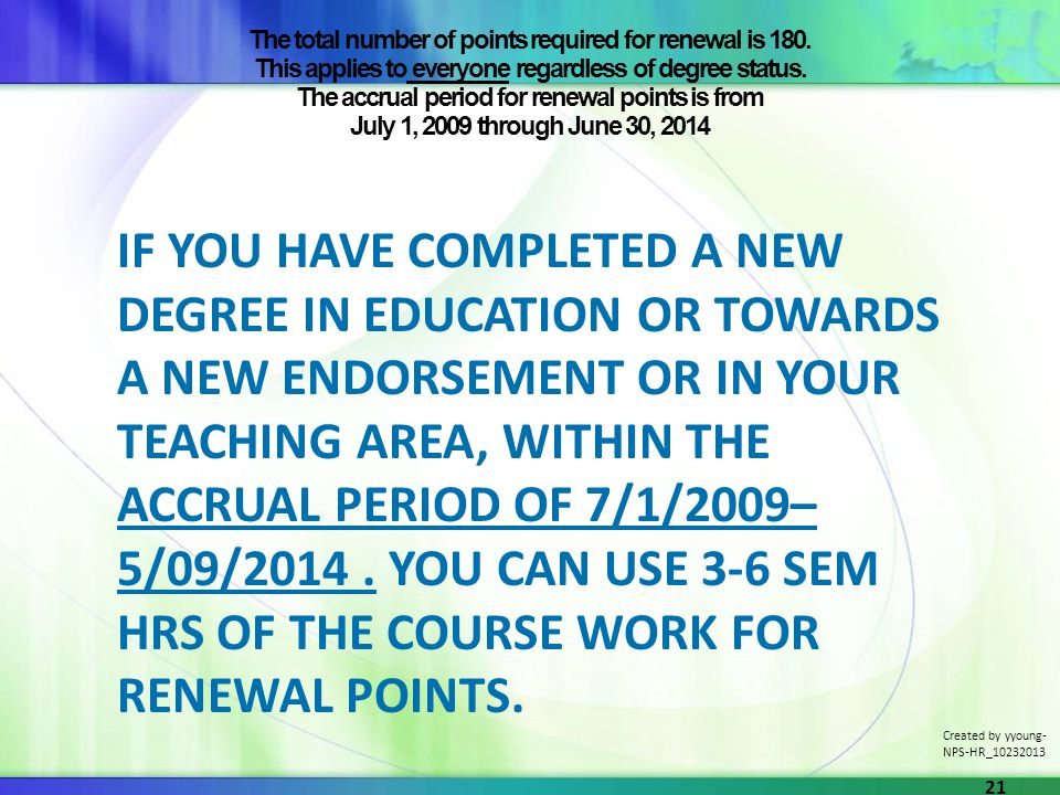 The total number of points required for renewal is 180.